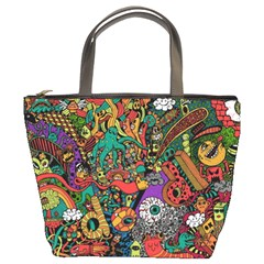 Monsters Colorful Doodle Bucket Bags