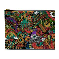 Monsters Colorful Doodle Cosmetic Bag (XL)