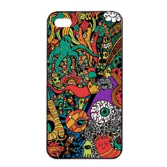 Monsters Colorful Doodle Apple iPhone 4/4s Seamless Case (Black)