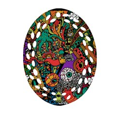 Monsters Colorful Doodle Oval Filigree Ornament (two Sides)