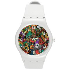 Monsters Colorful Doodle Round Plastic Sport Watch (M)