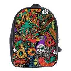 Monsters Colorful Doodle School Bags (xl)