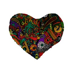 Monsters Colorful Doodle Standard 16  Premium Heart Shape Cushions