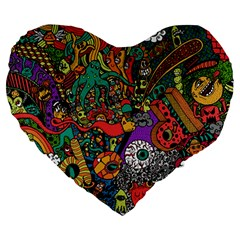 Monsters Colorful Doodle Large 19  Premium Heart Shape Cushions