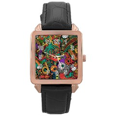 Monsters Colorful Doodle Rose Gold Leather Watch