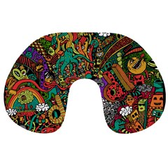Monsters Colorful Doodle Travel Neck Pillows