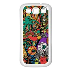 Monsters Colorful Doodle Samsung Galaxy S3 Back Case (white)