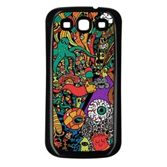 Monsters Colorful Doodle Samsung Galaxy S3 Back Case (black)