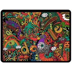 Monsters Colorful Doodle Double Sided Fleece Blanket (large)
