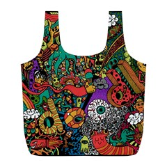 Monsters Colorful Doodle Full Print Recycle Bags (l)
