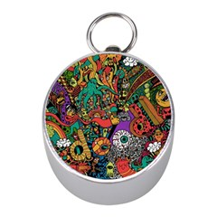 Monsters Colorful Doodle Mini Silver Compasses