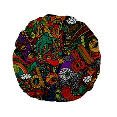 Monsters Colorful Doodle Standard 15  Premium Flano Round Cushions