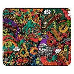Monsters Colorful Doodle Double Sided Flano Blanket (small)