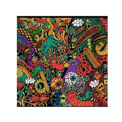 Monsters Colorful Doodle Small Satin Scarf (square)
