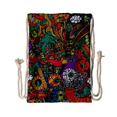 Monsters Colorful Doodle Drawstring Bag (small)