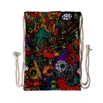 Monsters Colorful Doodle Drawstring Bag (Small) Back