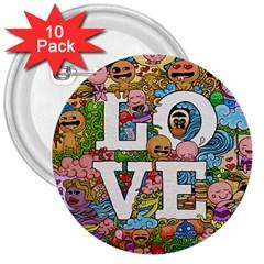 Doodle Art Love Doodles 3  Buttons (10 pack)