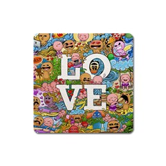 Doodle Art Love Doodles Square Magnet
