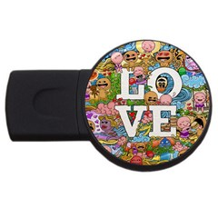 Doodle Art Love Doodles Usb Flash Drive Round (2 Gb)