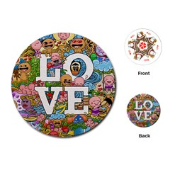 Doodle Art Love Doodles Playing Cards (round)