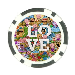 Doodle Art Love Doodles Poker Chip Card Guard