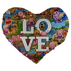 Doodle Art Love Doodles Large 19  Premium Heart Shape Cushions