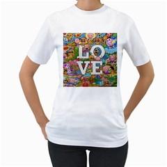 Doodle Art Love Doodles Women s T Shirt (white)