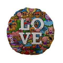Doodle Art Love Doodles Standard 15  Premium Flano Round Cushions