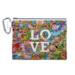 Doodle Art Love Doodles Canvas Cosmetic Bag (l)