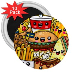 Cute Food Wallpaper Picture 3  Magnets (10 Pack)