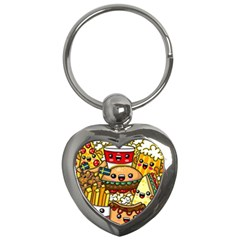 Cute Food Wallpaper Picture Key Chains (heart)