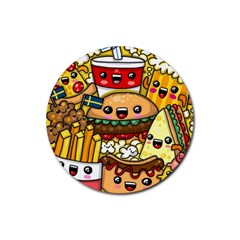 Cute Food Wallpaper Picture Rubber Coaster (Round)