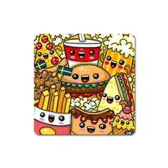 Cute Food Wallpaper Picture Square Magnet