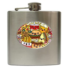 Cute Food Wallpaper Picture Hip Flask (6 Oz)
