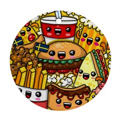 Cute Food Wallpaper Picture Round Ornament (Two Sides)