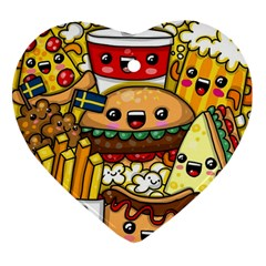 Cute Food Wallpaper Picture Heart Ornament (two Sides)