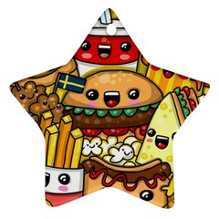 Cute Food Wallpaper Picture Star Ornament (Two Sides)
