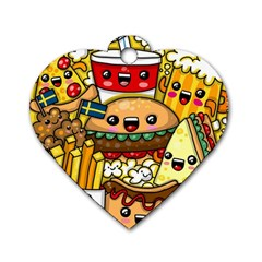 Cute Food Wallpaper Picture Dog Tag Heart (One Side)