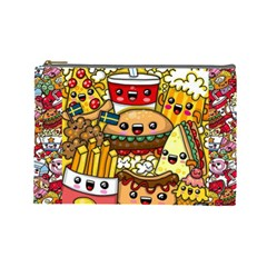 Cute Food Wallpaper Picture Cosmetic Bag (Large)