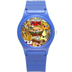 Cute Food Wallpaper Picture Round Plastic Sport Watch (s)