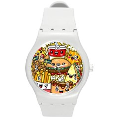 Cute Food Wallpaper Picture Round Plastic Sport Watch (m)