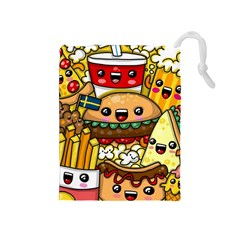 Cute Food Wallpaper Picture Drawstring Pouches (medium)