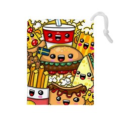 Cute Food Wallpaper Picture Drawstring Pouches (Large)