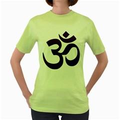 Hindu Om Symbol (Purple) Women s Green T-Shirt
