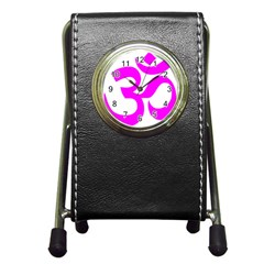 Hindu Om Symbol (magenta) Pen Holder Desk Clocks