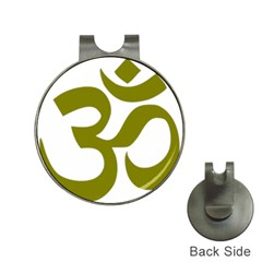 Hindi Om Symbol (olive) Hat Clips With Golf Markers