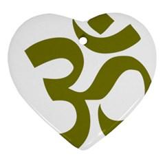 Hindu Om Symbol (Olive) Ornament (Heart)