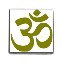 Hindu Om Symbol (Olive) Memory Card Reader (Square)