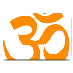 Hindu Om Symbol (Orange) Large Doormat