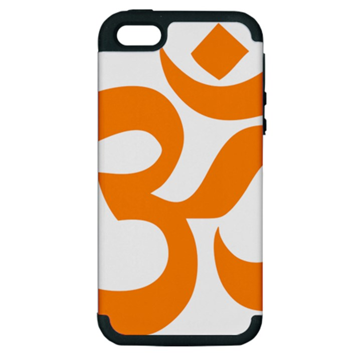 Hindu Om Symbol (Orange) Apple iPhone 5 Hardshell Case (PC+Silicone)